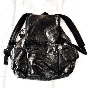 Lesportsac black gator textured back pack